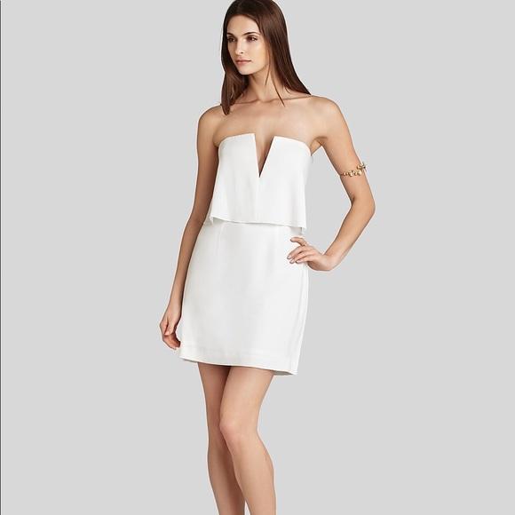 BCBGMaxAzria Dresses | Bcbg Maxazria White Strapless Dress | Poshmark
